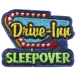 This patch displays a large 'Drive-Inn' sign with the traditional red arrow lit up with light bulbs. Underneath the sign is the text 'Sleepover'.