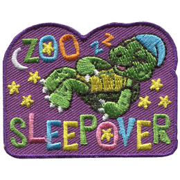A turtle in his little night cap sleeps soundly under the stars and the moon. The words \'Zoo Sleepover\' are embroidered in a variety of pastel colours.