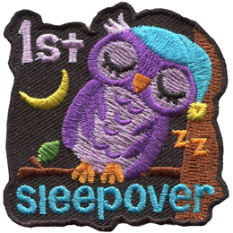 An owl, sleeping on a branch, has tipped over to lean against the tree trunk while a crescent moon peeks over its shoulder. The text \'1st\' is in the top left of the patch and \'sleepover\' is across the bottom.