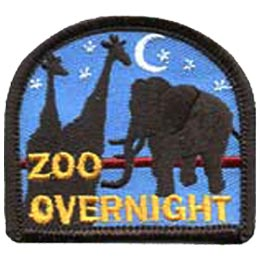 Zoo Overnight, Sleepover, Giraffe, Elephant, Moon, Stars, Patch, Embroidered Patch, Merit Badge, Crest, Girl Scouts, Boy Scouts, Girl Guides