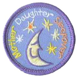 Mother Daughter Sleepover, Overnight, Moon, Stars, Patch, Embroidered Patch, Merit Badge, Crest, Girl Scouts, Boy Scouts, Girl Guides