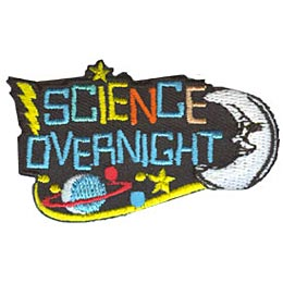 Science Overnight, Moon, Stars, Saturn, Lightning, Patch, Embroidered Patch, Merit Badge, Crest, Girl Scouts, Boy Scouts, Girl Guides