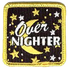 Overnighter, Overnight, Over Night, Moon, Stars, Sleep, Sleepover, Girl, Boy, Patch, Merit Badge, Crest, Guides, Scouts