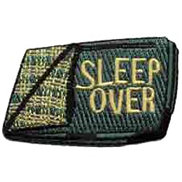 Sleep Over, Sleepover, Sleeping Bag, Bed, Blanket, Pillow, Merit Badge, Crest, Patch, Girl Guides, Girl Scouts, Boy Scouts