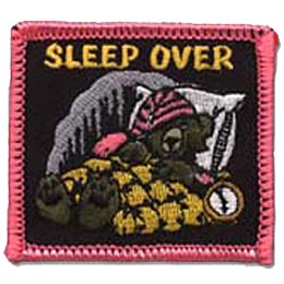 Sleep Over, Sleepover, Teddy Bear, Bear, Bed, Blanket, Quilt, Pillow, Merit Badge, Crest, Patch, Girl Guides, Girl Scouts, Boy Scouts