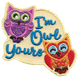 Two owls lean towards each other with the text \'I\'m Owl Yours\' between them.