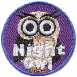Night, Owl, Night Owl, Hoot, Glow in the Dark, Glow, Dark, Set,Patch, Embroidered Patch, Merit Badge, Badge, Emblem, Iron On, Iron-On, Crest, Lapel Pin, Insignia, Girl Scouts, Boy Scouts, Girl Guides