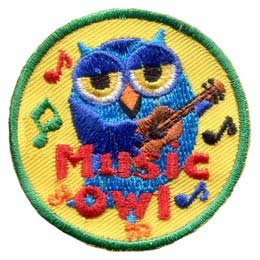 A blue owl dances as he strums a ukulele. Music notes fly about him and the words ''Music Owl'' is written in red text at the bottom of the patch.