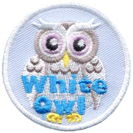 A white owl with big, silver eyes stares right at you. The words ''White Owl'' are written in blue at the bottom of the patch.