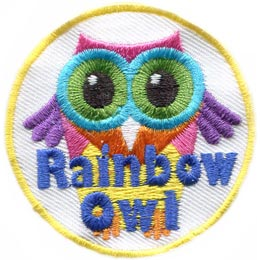 Rainbow Owl, Rainbow, Owl, Hoot, Set, Patch, Embroidered Patch, Merit Badge, Badge, Emblem, Iron On, Iron-On, Crest, Lapel Pin, Insignia, Girl Scouts, Boy Scouts, Girl Guides