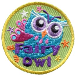 A blue bodied owl flaps it's fairy wings behind it as it travels through the stars. The words 'Fairy Owl' are embroidered near the bottom of the patch.