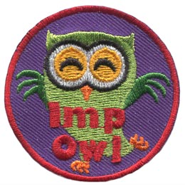 This green owl has spreads its wings so three individual feathers show on each wing. These wings plus his pointed ears make him appear as an imp. The words 'Imp Owl' are embroidered in red thread.