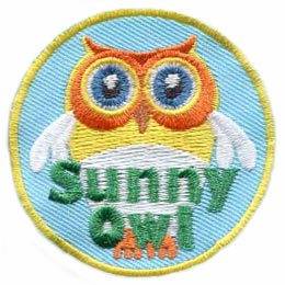 Sunny Owl, Sunny, Owl, Set, Hoot, Patch, Embroidered Patch, Merit Badge, Badge, Emblem, Iron On, Iron-On, Crest, Lapel Pin, Insignia, Girl Scouts, Boy Scouts, Girl Guides