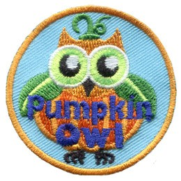 This wide-eyed owl has the body of a pumpkin, wings made of leaves, and a stem with small, curly vines growing from the top of his head. The words 'Pumpkin Owl' are embroidered at the bottom of the patch.