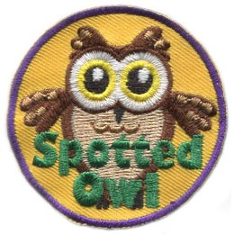 Spotted Owl, Spotted, Owl, Who, Leader, Brownies,Patch, Embroidered Patch, Merit Badge, Badge, Emblem, Iron On, Iron-On, Crest, Lapel Pin, Insignia, Girl Scouts, Boy Scouts, Girl Guides