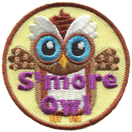 The S'more owl represents the treat it is named after. The owl is composed of a graham cracker colour, a marshmallow belly, and a chocolate swirl on its head.