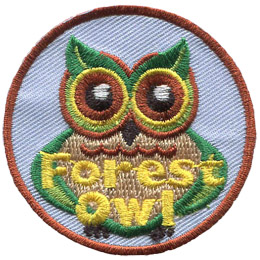 A green and brown owl stares straight ahead. The owl's ears are leaves. The words 'Forest Owl' are embroidered in yellow at the bottom of the patch.