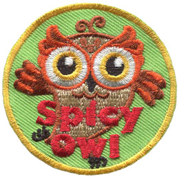 This Spicy Owl is dancing with one foot kicked back and her wings moving in opposite directions.