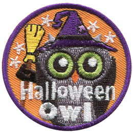 This round badge displays an owl wearing a witch's hat and holding a broom. The words, 'Halloween Owl' are embroidered at the bottom. The background is filled with stars.