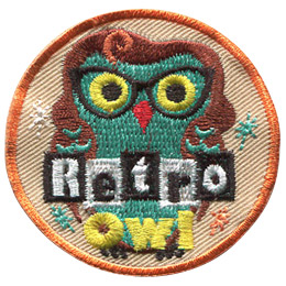 This round patch has a female owl with long wavy hair and horn-rimmed glasses. The words 'Retro Owl' are at the bottom of the patch. 'Retro' is in black and white blocks.