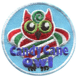 This red, white, and green stripped owl is made of peppermint candy. The words 'Candy Cane Owl' are embroidered in blue at the bottom of the crest.