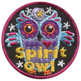 This odd looking owl is blue with pink highlights, has purple and orange eyes, and wears a symbol of a moon and a star on its head. Stars circle the owl in the background. Text at the bottom of the patch reads 'Spirit Owl'.