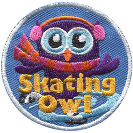 A purple owl with ear muffs and a scarf skates on ice. The words 'Skating Owl' are embroidered at the bottom of this round patch.