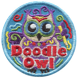 This round patch shows an owl covered in doodle scribbles. The text 'Doodle Owl' rests at the bottom of the patch.