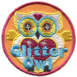 Glitter, Owl, Set, Metallic, Leader, Who, Hoot, Patch, Embroidered Patch, Merit Badge, Badge, Emblem, Iron-On, Crest, Lapel Pin, Insignia, Girl Scouts, Boy Scouts, Girl Guides