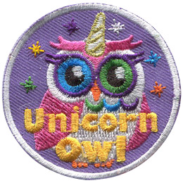 This circular badge displays a rainbow owl with a spiral horn on the top of its head and sparkles all around. The words 'Unicorn Owl' rest at the bottom.