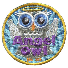This grey owl is depicted like an angel, with a grey dress and angel wings sprouting from her back. A golden ring hovers over her head and a blue starburst shines behind her. The words \'Angel Owl\' is embroidered at the bottom.