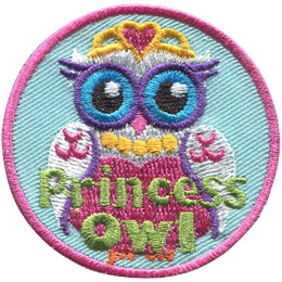 This regal princess owl wears a golden crown, necklace, and a beautiful pink dress.