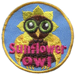 A brown owl with yellow wings is wearing a hat with yellow petals around its head. The bottom of the crest says 'Sunflower Owl'.