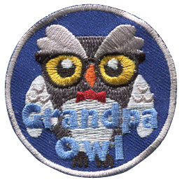 This senior owl is wearing horned-rimmed glasses and a bowtie. The text near the bottom says 'Grandpa Owl'.