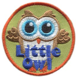 Little, Owl, Set, Small, Tiny, Leader, Who, Hoot, Patch, Embroidered Patch, Merit Badge, Badge, Emblem, Iron-On, Crest, Lapel Pin, Insignia, Girl Scouts, Boy Scouts, Girl Guides