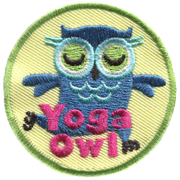 A blue owl is in the mountain yoga pose with its eyes closed. The words Yoga Owl are embroidered at the bottom of this circular patch.