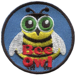 A owl wears a cute bee costume. The text Bee Owl is at the bottom of this round crest.