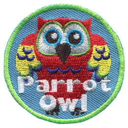 An owl looks like a parrot with red, blue, and yellow flowers.