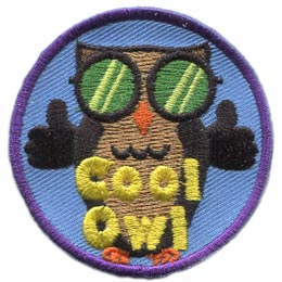 Cool, Owl, Set, Leader, Shades, Sunglasses, Who, Hoot, Patch, Embroidered Patch, Merit Badge, Badge, Emblem, Iron-On, Crest, Lapel Pin, Insignia, Girl Scouts, Boy Scouts, Girl Guides