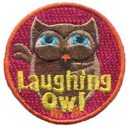 Laughing, Owl, Set, Leader, Who, Hoot, Patch, Embroidered Patch, Merit Badge, Badge, Emblem, Iron-On, Iron On, Crest, Lapel Pin, Insignia, Girl Scouts, Boy Scouts, Girl Guides