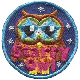 Starry, Owl, Set, Leader, Who, Hoot, Patch, Embroidered Patch, Merit Badge, Badge, Emblem, Iron-On, Iron On, Crest, Lapel Pin, Insignia, Girl Scouts, Boy Scouts, Girl Guides