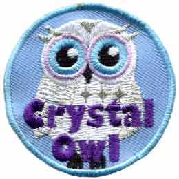 Crystal, Owl, Set, Leader, Who, Hoot, Patch, Embroidered Patch, Merit Badge, Badge, Emblem, Iron-On, Iron On, Crest, Lapel Pin, Insignia, Girl Scouts, Boy Scouts, Girl Guides