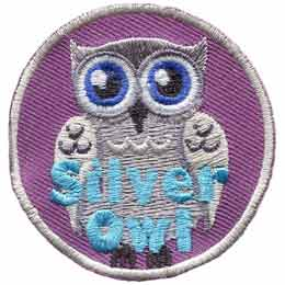 Silver,  Owl, Set, Leader, Who, Hoot, Patch, Embroidered Patch, Merit Badge, Badge, Emblem, Iron-On, Iron On, Crest, Lapel Pin, Insignia, Girl Scouts, Boy Scouts, Girl Guides