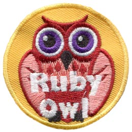 Ruby, Owl, Set, Leader, Who, Hoot, Patch, Embroidered Patch, Merit Badge, Badge, Emblem, Iron-On, Iron On, Crest, Lapel Pin, Insignia, Girl Scouts, Boy Scouts, Girl Guides
