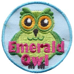Emerald, Owl, Set, Leader, Who, Hoot, Patch, Embroidered Patch, Merit Badge, Badge, Emblem, Iron-On, Iron On, Crest, Lapel Pin, Insignia, Girl Scouts, Boy Scouts, Girl Guides