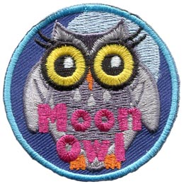 Moon, Owl, Set, Leader, Who, Hoot, Patch, Embroidered Patch, Merit Badge, Badge, Emblem, Iron-On, Iron On, Crest, Lapel Pin, Insignia, Girl Scouts, Boy Scouts, Girl Guides