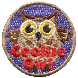 Cookie, Owl, Set, Leader, Who, Hoot, Bird, Patch, Embroidered Patch, Merit Badge, Badge, Emblem, Iron-On, Crest, Lapel Pin, Insignia, Girl Scouts, Boy Scouts, Girl Guides