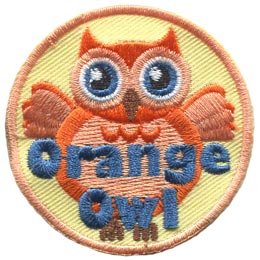 Orange, Owl, Set, Leader, Who, Hoot, Bird, Patch, Embroidered Patch, Merit Badge, Badge, Emblem, Iron-On, Crest, Lapel Pin, Insignia, Girl Scouts, Boy Scouts, Girl Guides