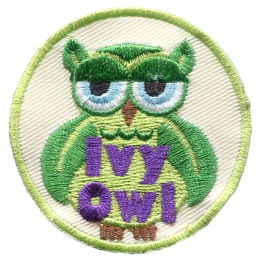 Ivy, Owl, Set, Leader, Who, Hoot, Bird, Patch, Embroidered Patch, Merit Badge, Badge, Emblem, Iron-On, Crest, Lapel Pin, Insignia, Girl Scouts, Boy Scouts, Girl Guides