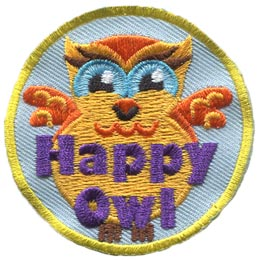 Happy, Smile, Owl, Set, Leader, Who, Hoot, Bird, Patch, Embroidered Patch, Merit Badge, Badge, Emblem, Iron-On, Crest, Lapel Pin, Insignia, Girl Scouts, Boy Scouts, Girl Guides